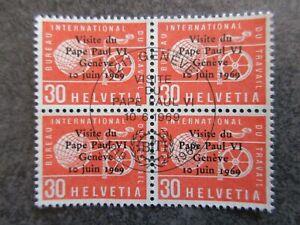 SUISSE lot timbre N° service 436 bloc de 4 oblitéré 1er jour en TBE AV153