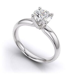 2CT Classic Round Diamond Solitaire Engagement Ring 9K White Gold Over