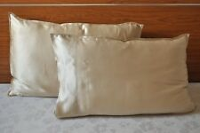 100% 19m Mulberry Silk Charmeuse Pillowcase Light Beige QUEEN a pair Pillow Sham
