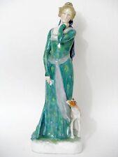ENS Figur Galante Dame mit Hund KVE Figure Figurine um 1900 Signiert