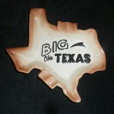 """Vtg Ceramic LARGE """"Big Like Texas"""" Shaped Ashtray Stoneware Glaze Tobacciana"""