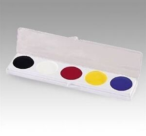 Mehron 5 Color Slim Palette w/ Yellow ~ Auguste Tramp Clown Makup Kit 405