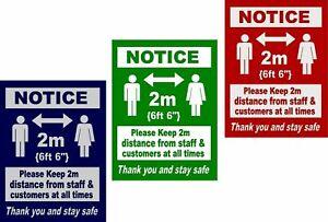 Social Distancing Window Door Sticker 2m Sign Keep your Distance Vinyl