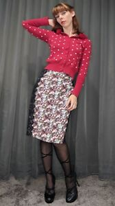 Alannah Hill Painting The Roses Red Silk Feminine Floral Pencil Skirt Aus 12 M