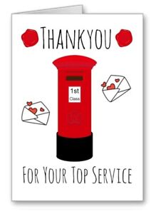 Thankyou Thank You Postman Card Top Service Notelet  All Cards 3 for 2