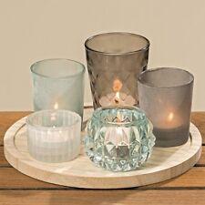 6 tlg. Kerzentablett Teelichthalter Tablett mit Kerzengläsern Glas Holz Tablett