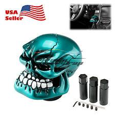 Teal Blue Universal Manual Wicked Skull Head Gear Car Stick Shift Knob Shifter