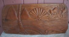 LARGE WOODEN CARVED WALL PLAQUE WITH SUN MOTIF