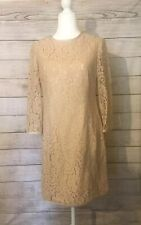 Eliza J Nude Tan Lace Dress Size 8 3/4 Sleeves Wedding Formal Party