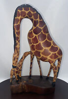 Hand Carved Wooden Giraffe Statue Mom and Baby