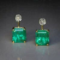2Ct Round Cut VVS1 Diamond & Emerald Women's Stud Earring 14K Yellow Gold Finish