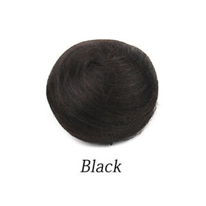 Women Updo Chignon Hairpiece Clip On 100% Human Hair Fake Bun Hair Extensions