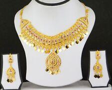 UK Indian Bollywood Jewelry Gold Plated Wedding Fashion Necklace Earring Set