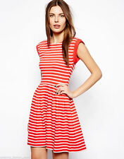 Knee Length Boat Neck Skater Striped Dresses for Women