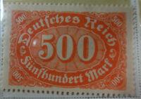 Germany 1922-23 Stamp 500 Mark MNH Stamp Rare Antique Excellent StampBook1-126