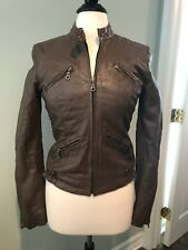 Crisci Brown Italian Leather Moto Style Jacket, Size 42/US 8