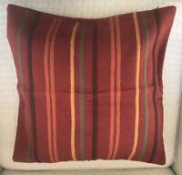 "Crate and Barrel Pillow Cover Rust Striped Felt Wool Home Decor 18"" Sq Zip Close"