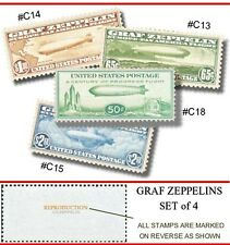 #C13 - #C18 ZEPPELIN U.S. AIRMAIL 4 STAMP REPRODUCTIONS