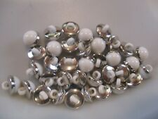LOT OF 37 SILVER & WHITE 7/16 INCH SHANK BUTTONS, NEW