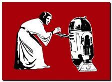 """STARWARS Princess Leia & R2D2 `COKE' BANKSY STYLE Canvas Art Print Poster 12x8"""""""