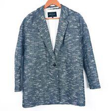 RIVER ISLAND Black Metallic Tweed Blazer Oversized Boyfriend Jacket Size 8 (I1)