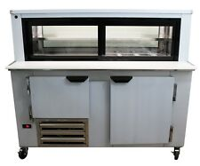 """Cooltech 1-1/2 Door Glass Box Display Refrigerated Sandwich Prep Table 60"""""""