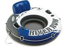 Intex River Run 1 Person Inflatable Floating Water Tube Raft Blue/ White /Grey
