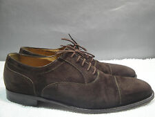 MENS 11.5 D BALLY KENSINGTON ITALY BROWN SUEDE LEATHER CAPTOE OXFORD SHOES