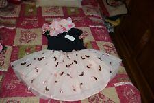 catimini robe neuve  3 ans noire dessus le jupon rose papilles a voir une seule