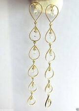 Big Long Dangling Beautiful White Sparkling Diamond Briolette Earring 14K Gold