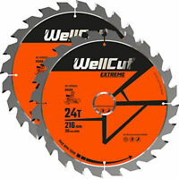 WellCut TCT Saw Blade 216mm x 24T x 30mm Bore For LS0815,DWS777,DWS774 Pack of 2