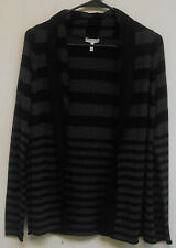 NWOT Women's Joie LS Hooded Open Cardigan, Gray and Black Striped, Size S.