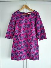 WHITE STUFF WINTER TUNIC 3/4 SLEEVE PINK FLORAL DRESS POCKETS CORD SIZE 10 BOHO