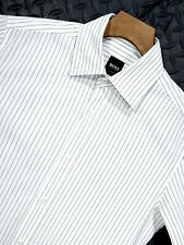 "⭐ Mens HUGO BOSS Sea 2 white slim fit stretch pinstripe LS shirt size small 36"""