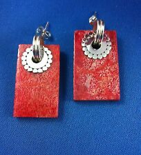 Earrings Shell Red Coral Studs 925 Sterling Silver 3.5cm Light Weight Quality