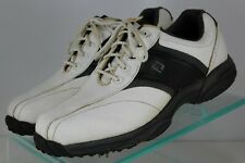 Footjoy Mens Golf Shoes 45463 Spikes Cleats White Black Leather Oxford Size 8 W