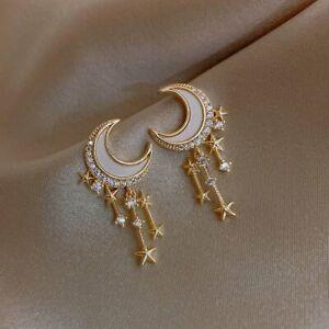 2021 Gold Crystal 925 Sliver Pearl Earrings Stud Dangle CZ Wedding Women Jewelry