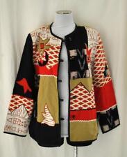 Alex Kim Chic Patchwork Tribal Wearable Art Light Layering Open Jacket Blazer S