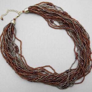 Heishi Toursad Multistrand Necklace Brown (d141)