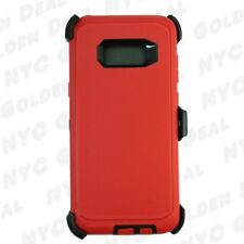 Red Black For Samsung Galaxy S8 Defender Case w/(Belt Clip Fits Otterbox)