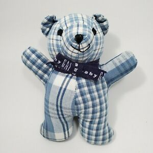 "Vintage Baby Gap Blue Plaid 6"" Plush Toy Teddy Bear Rattle Checkered"