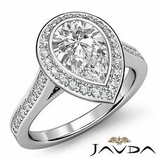Bezel Pre-Set Pear Cut Diamond Engagement Ring EGL F SI1 14k White Gold 1.55 ct