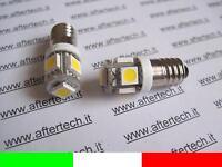 2 2pz COPPIA LAMPADINE LUCI VITE E10 5 LED SMD BIANCO CALDO 3700K 12V B1W