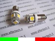 2 2pz COPPIA LAMPADINE LUCI VITE E10 5 LED SMD BIANCO CALDO 3700K 6V 6 VOLT B16W