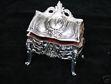 Diana Chest Style Silver Plated Jewelry Box Antique Fin