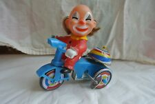 Vintage Clown Tricycle 1950's Tin Wind-up Toy Collectible Works!