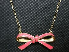 Kate Spade Skinny Pink and Gold Bow Necklace