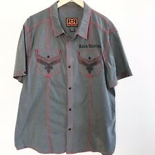 Rock Revival Checked Mens The Buckle Red Black Button Dress Shirt XXL 2XL