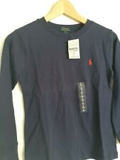 ralph lauren long sleeve ladies tshirt shirt navy red size 8 Small
