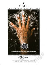 Harrison Ford's hand 1-page clipping May 2000 ad for Ebel Chronograph